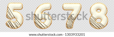 Cookie font alphabet number 5, 6, 7, 8, with chocolate icing on top of cream. Collection of sweet 3D illustration with Clipping path ready to use for your font number with several concept idea
