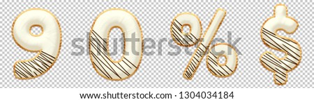 Cookie font alphabet number 9, 0, %, $ with chocolate icing on top of cream. Collection of sweet 3D illustration with Clipping path ready to use for your font number with several concept idea