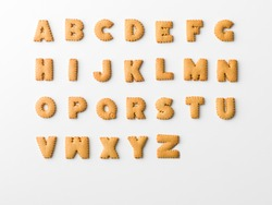 cookie letter alphabet on white background