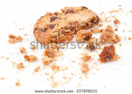 Cookie with a big part missing against a white background