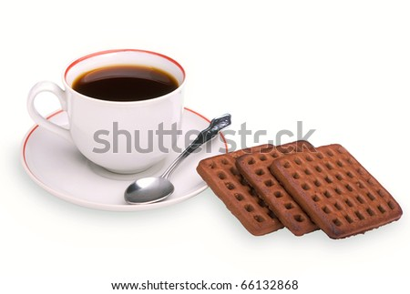 Cookies and coffee cup on a white background