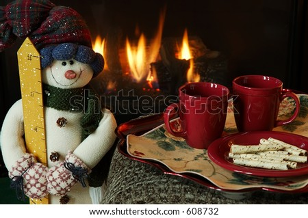 Cookies and hot drinks by the fire.