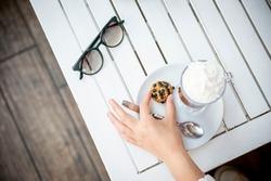 cookies and mocha in coffee shop,latte ,mocha,