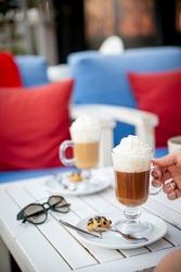 cookies and mocha in coffee shop,latte ,mocha