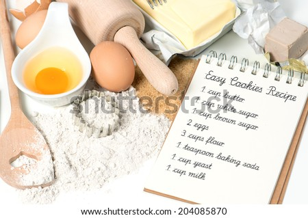 cookies baking ingredients eggs flour sugar butter yeast recipe book with sample text