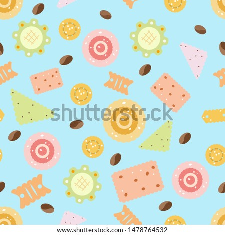 cookies, coffee beans on a blue background
