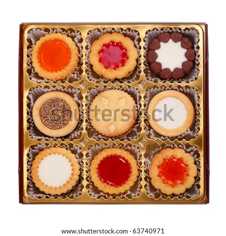 Cookies collection in a package isolated on white background