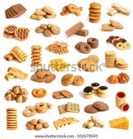 Cookies collection on a white background