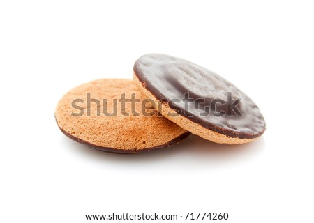 Cookies covered with chocolate and filled with jam.