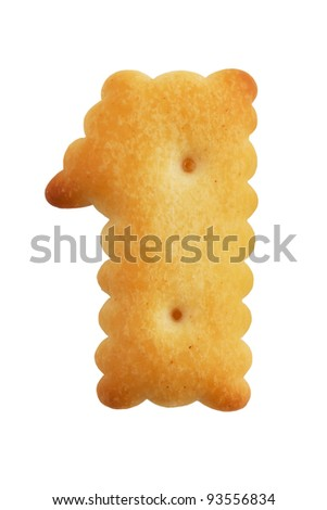 Cookies crackers in a figure one on white background