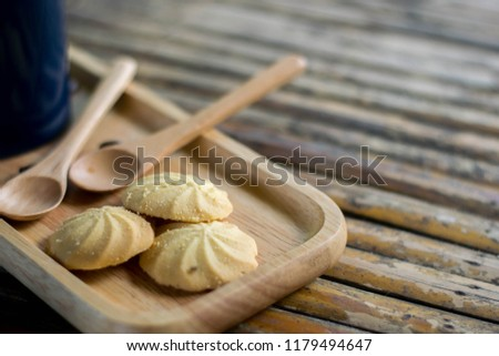 Cookies in a serving tray served with morning coffee. #1179494647