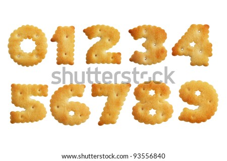 Cookies in a set of numbers on  white background