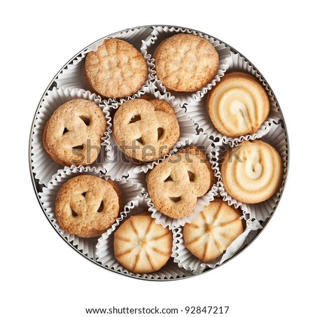 Cookies in a tin, isolated on a white background