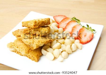 Cookies macadamia and strawberry - stock photo