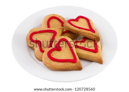 cookies on the white plate on white background