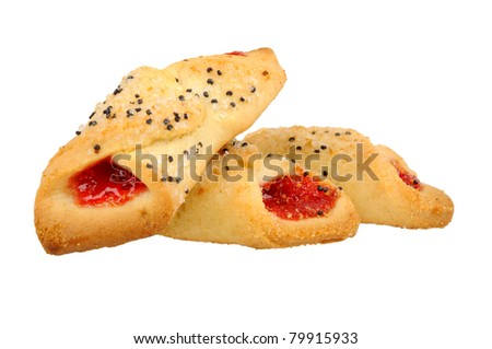 Cookies with cherry jam isolated on white