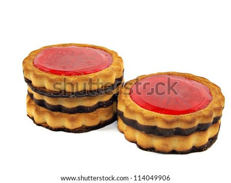 Cookies with chocolate and jam on white background