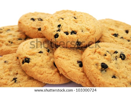Cookies  with chocolate crisps on white background.