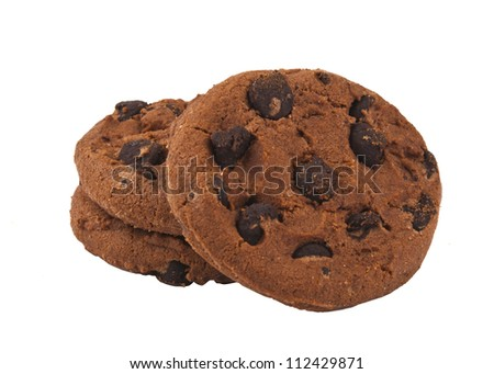 Cookies with chocolate drops isolated on white background