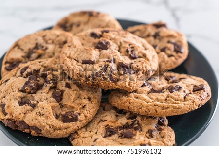 cookies with dark chocolate chips on plate