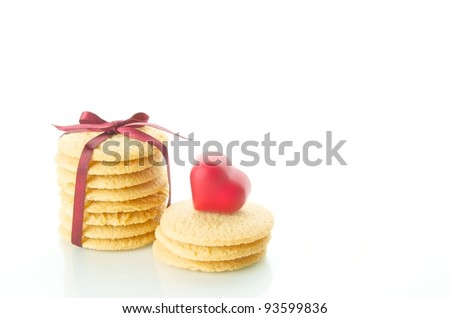 Cookies with red ribbon
