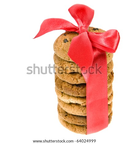 cookies with red ribbon bow isolated on white