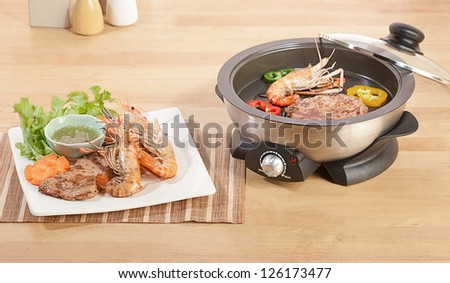 Cooking and grill pot in the kitchen