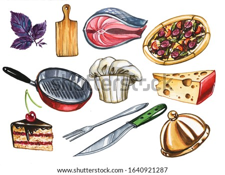 Cooking attributes hand drawn watercolor illustrations set. Kitchenware and products, uniform on white background. Cook workplace items and food ingredients aquarelle paintings collection