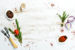 Cooking banner. Background with spices and vegetables. Top view. Free space for your text.