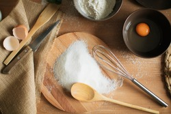 cooking cake on the table and baking cake ingredients