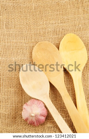 Cooking concept on jute background