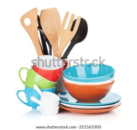 Cooking equipment. Isolated on white background stock photo