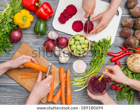cooking food kitchen cutting cook hands man male knife preparation fresh preparing hand table salad concept - stock image