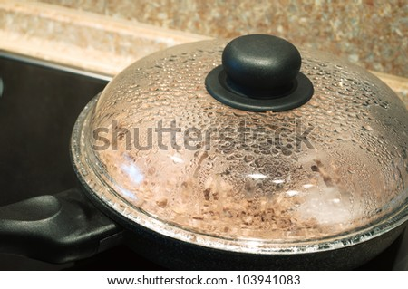 cooking in frying pan with cover on stove