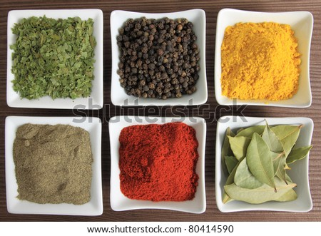 Cooking ingredients - herbs and spices. Food additives: ramsons, pepper, turmeric and bay laurel leaves.