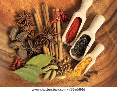 Cooking ingredients - warm colours of herbs and spices.