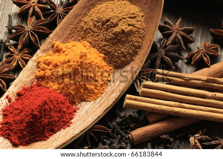 Cooking ingredients - warm colours of herbs and spices. Turmeric and cayenne pepper powder, plus aniseed, clove and cinammon sticks.