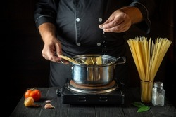 Cooking Italian spaghetti in the restaurant kitchen. The chef adds salt to Stock pot of boiling water. Free advertising space