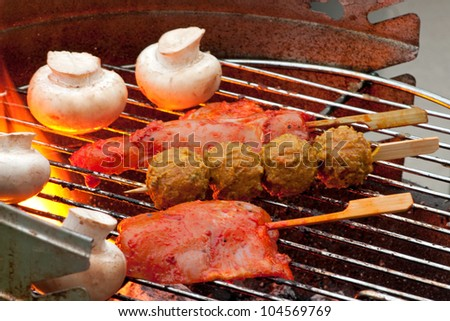 Cooking Meat and Vegetables on a Barbecue outside in the garden