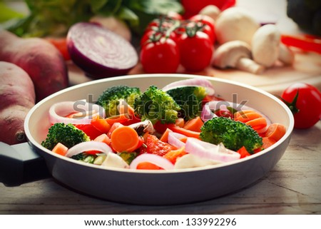 Cooking mixed vegetables