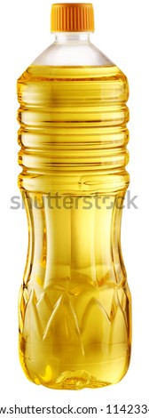 Cooking oil in a plastic bottle on a white background. File contains a path to cut.
