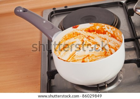 Cooking pan on the stove with remains of the tomato soup