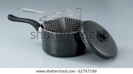 Cooking pot with lid isolated on the plain background
