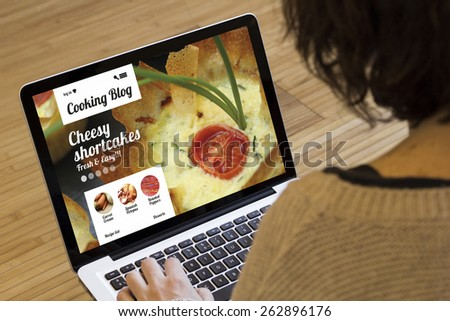 cooking recipes online: cooking blog on a laptop screen