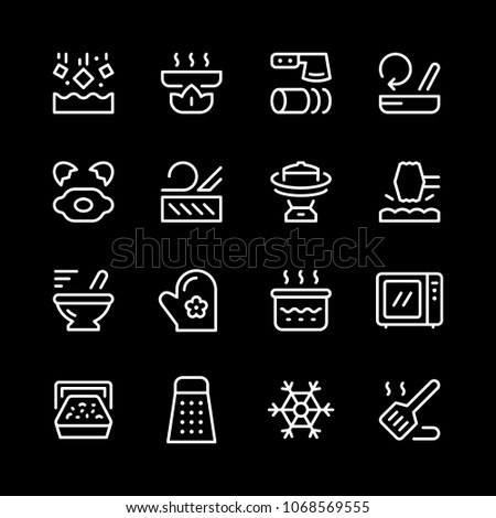 Cooking related set line icons isolated on black