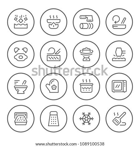 Cooking related set round line icons isolated on white