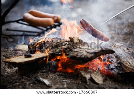 Cooking sausages by the campfire
