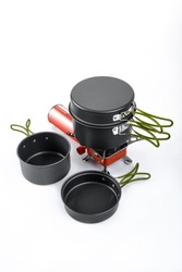 Cooking set pots and gas stove for backpacker or journey use for outdoor camping placed on white isolated background, copy space for design elements.