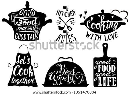 Cooking set with kitchen utensils and cuisine short phrases and quotes. Vintage hand drawn illustration.
