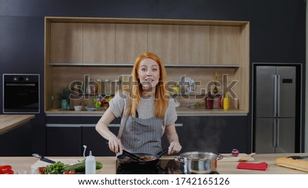 Cooking show hosts celebrity chef shows how to cook meat. Morning TV cooking programme
